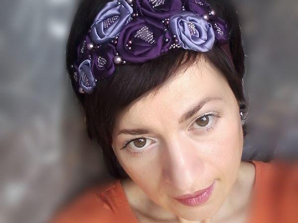 Новинка! Ободок для волос в сиреневых тонах! | Ярмарка Мастеров - ручная работа, handmade