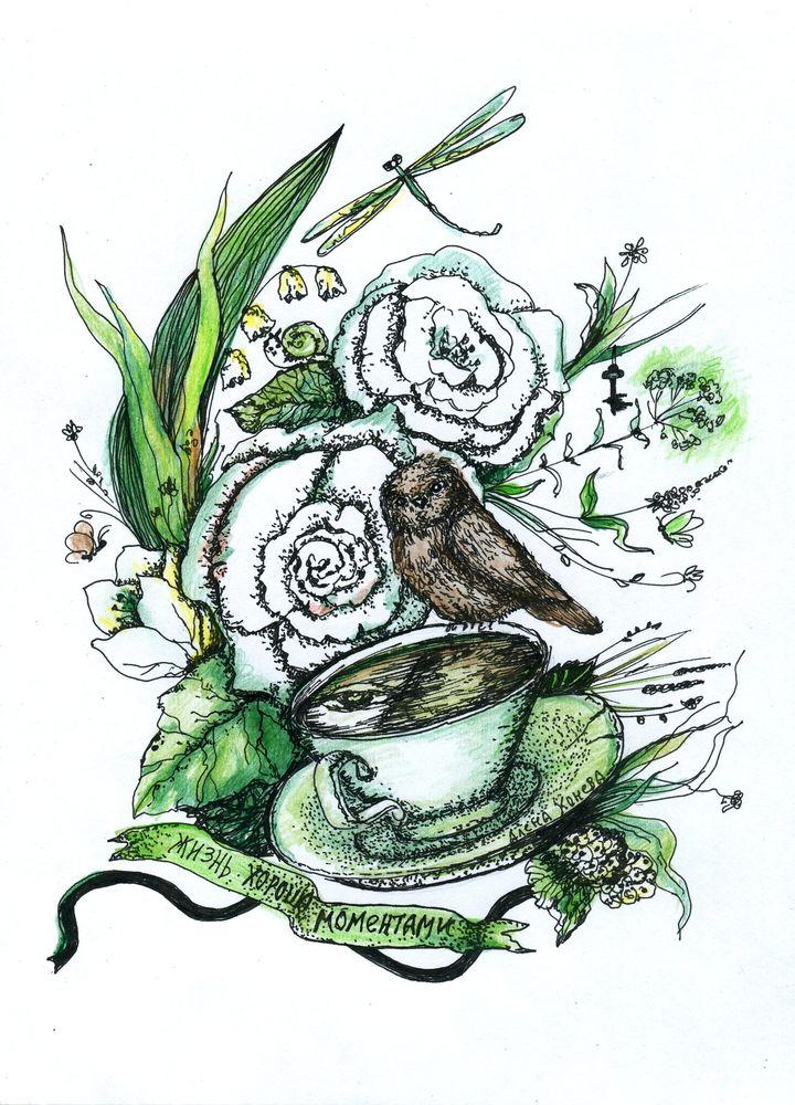графика, рисуночки, полевые цветы, нарисую, дарю работы