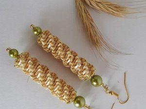 Серьги из соломки длинные. Ярмарка Мастеров - ручная работа, handmade.