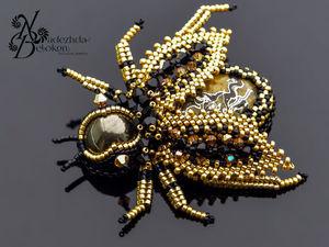 Пчелка золотая Брошь. Ярмарка Мастеров - ручная работа, handmade.