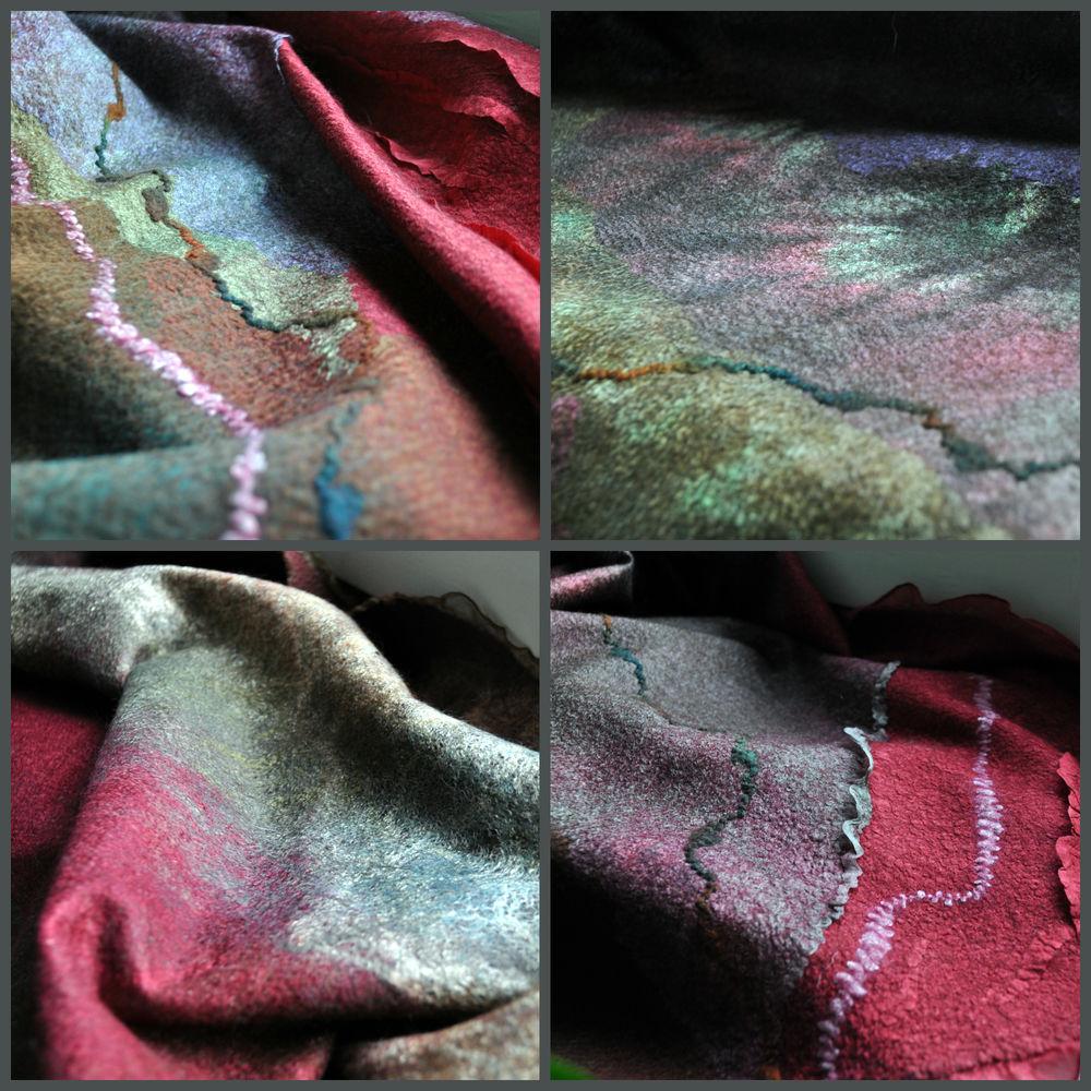 Мастер-класс Сухопаровой Татьяны по созданию тонкого палантина в технике нунофелтинг. Маргиланский шелк для работы в подарок!, фото № 15