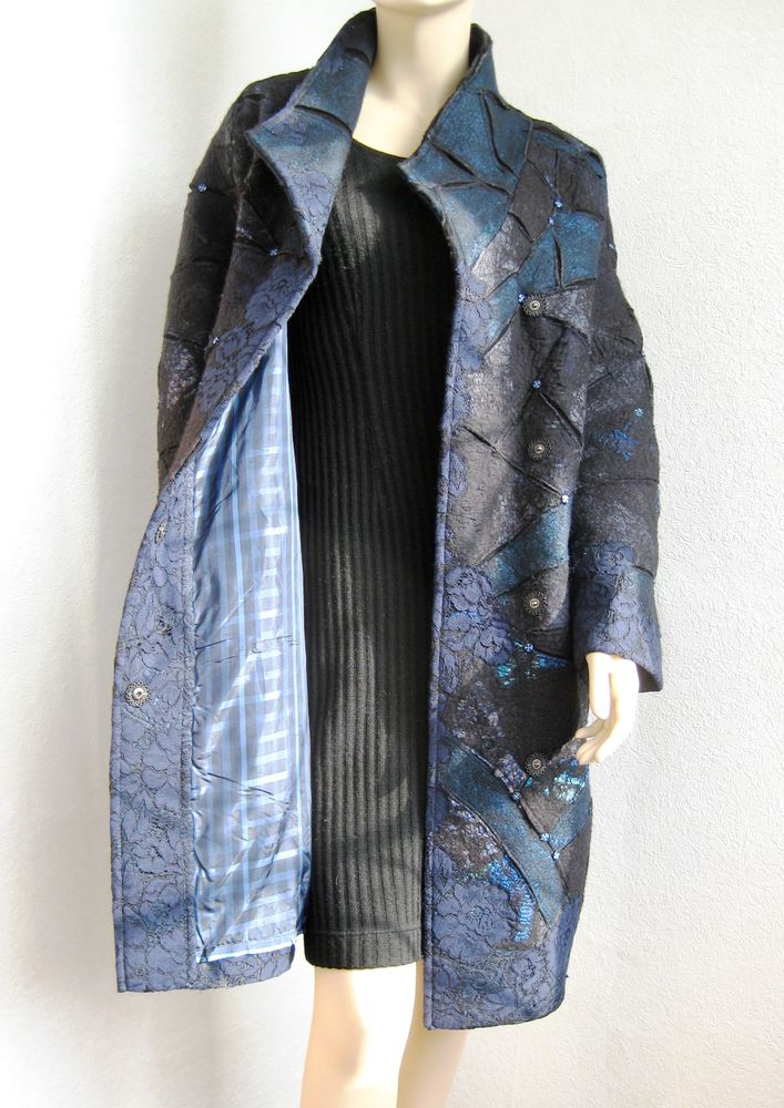 пальто валяное, черное пальто, фактура