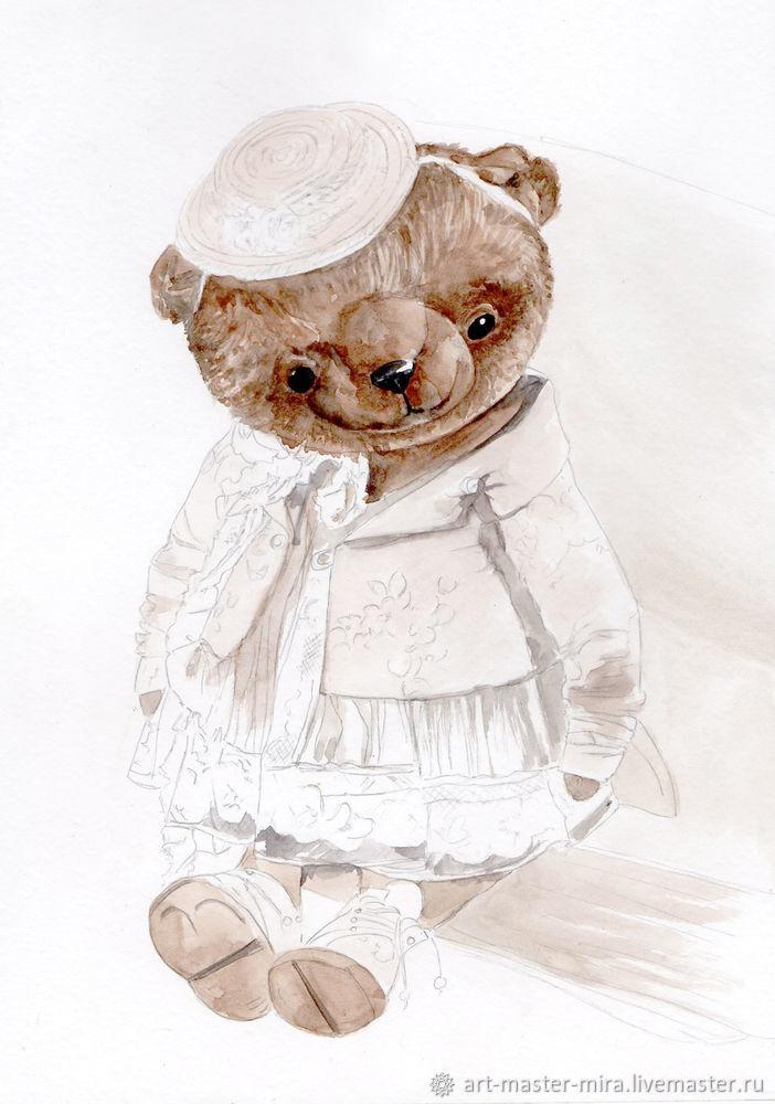 Как нарисовать мишку Тедди акварелью, фото № 4