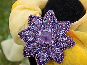 Как сделать брошь-заколку «Цветок клематиса» своими руками. Ярмарка Мастеров - ручная работа, handmade.
