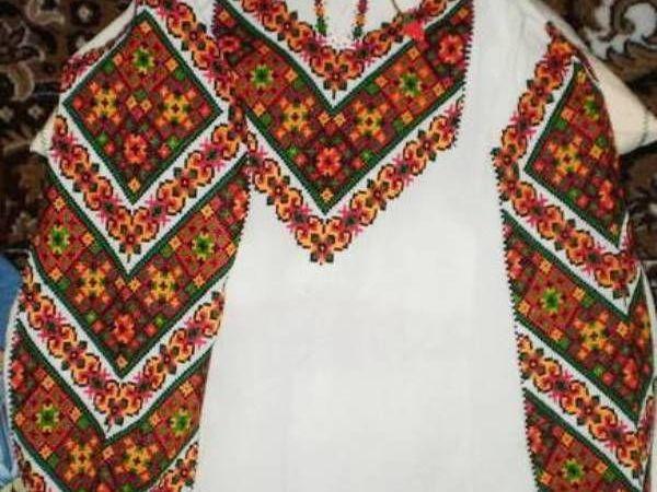 Винтажная рубаха с цветной вышивкой крестом ручная работа   Ярмарка Мастеров - ручная работа, handmade