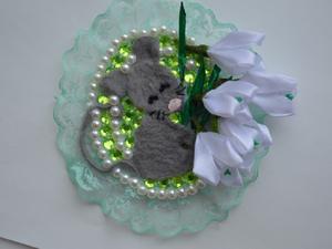Делаем милую текстильную брошь с мышонком «Запах весны». Ярмарка Мастеров - ручная работа, handmade.