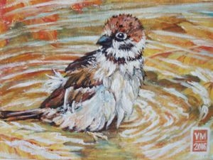 Пишем маслом этюд «Воробушек в осенней луже». Ярмарка Мастеров - ручная работа, handmade.