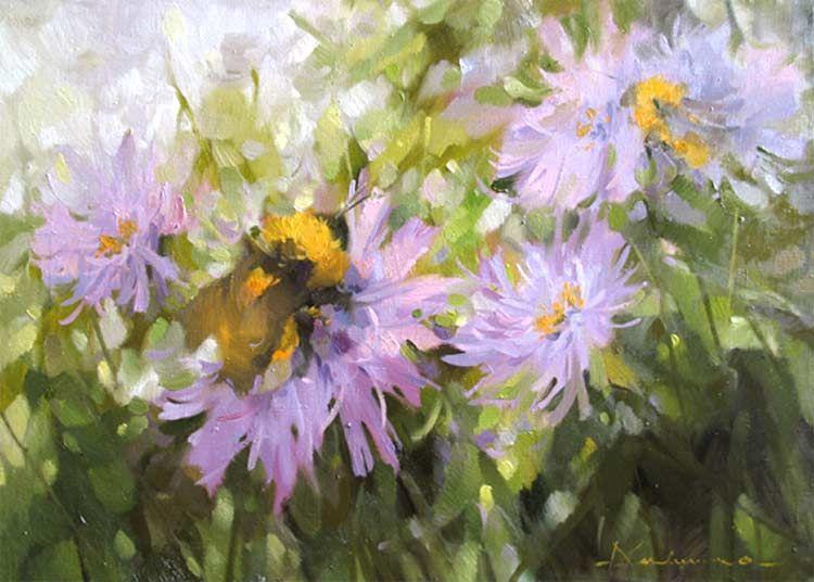 цветы маслом