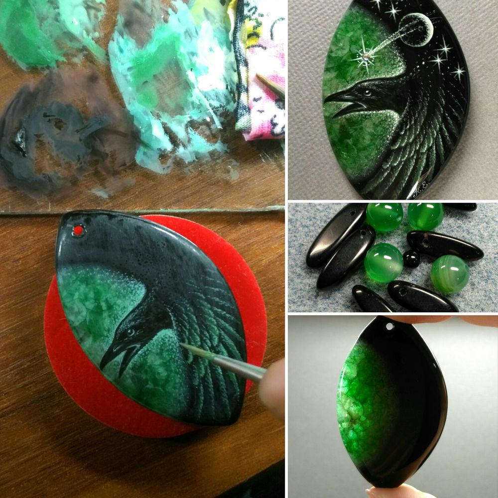 зеленый, малахит, яичная темпера, глиттер