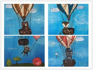 Аукцион на набор из 5 Купонов с ручной росписью со зверушками! | Ярмарка Мастеров - ручная работа, handmade
