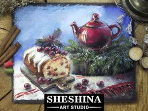 Рисуем рождественский натюрморт сухой пастелью: видео мастер-класс. Ярмарка Мастеров - ручная работа, handmade.