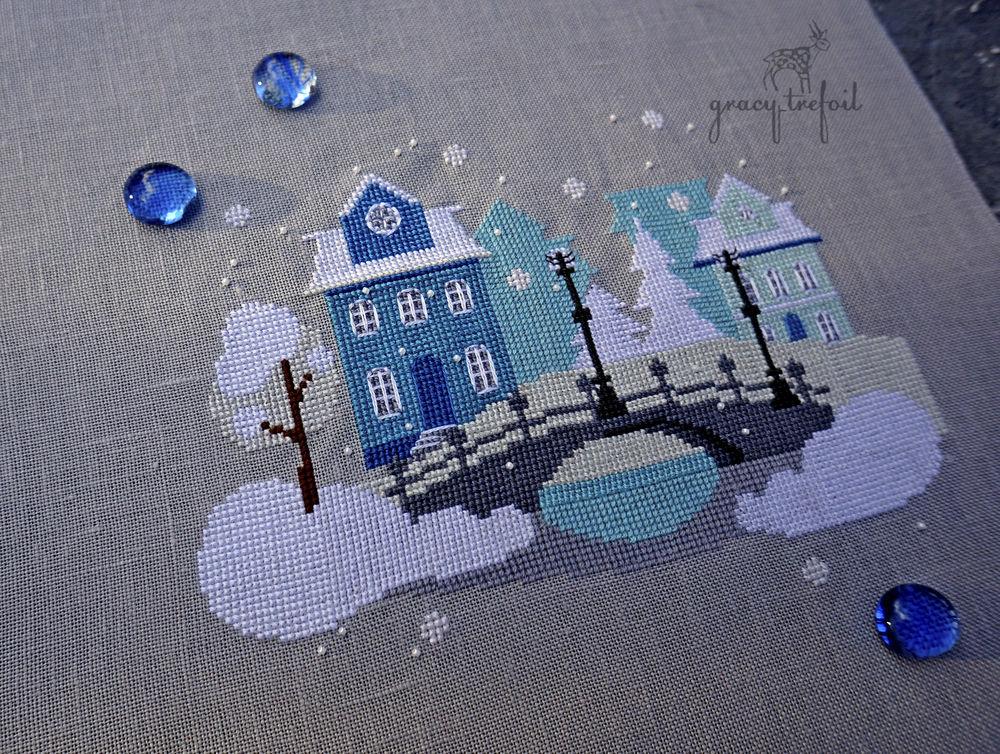 вышивка крестом снег
