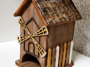 «УЮТНОЕ КАНТРИ» чайный домик с накладными элементами и «плетёной» крышей скидка! | Ярмарка Мастеров - ручная работа, handmade