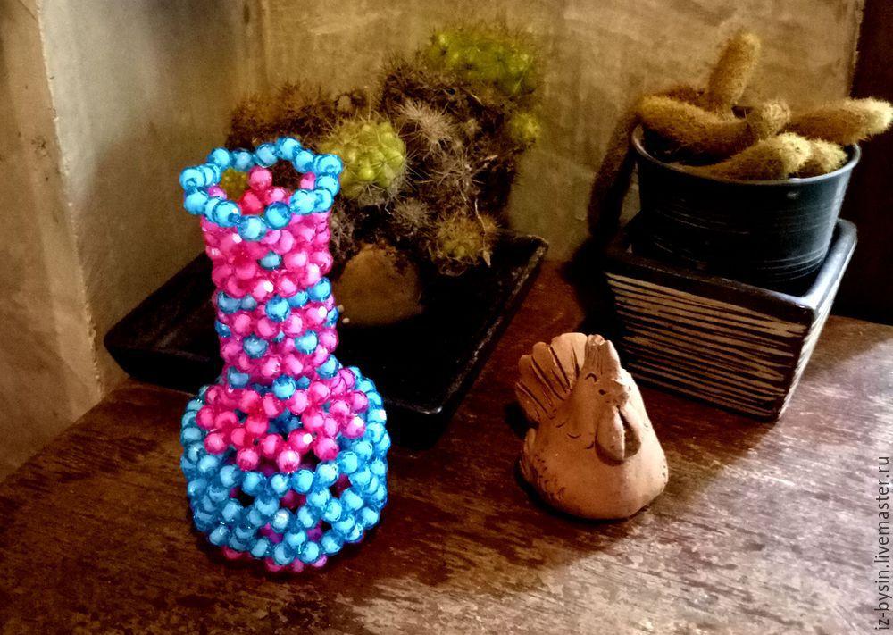 вазочка из бусин, вазочка своими руками, вазочка мастер-класс, как плести вазочку, как плести из бусин, фигура из бусин, поделки из бусин, ваза