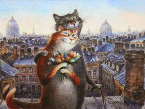 Веселые картины из жизни котов художника Владимира Румянцева | Ярмарка Мастеров - ручная работа, handmade