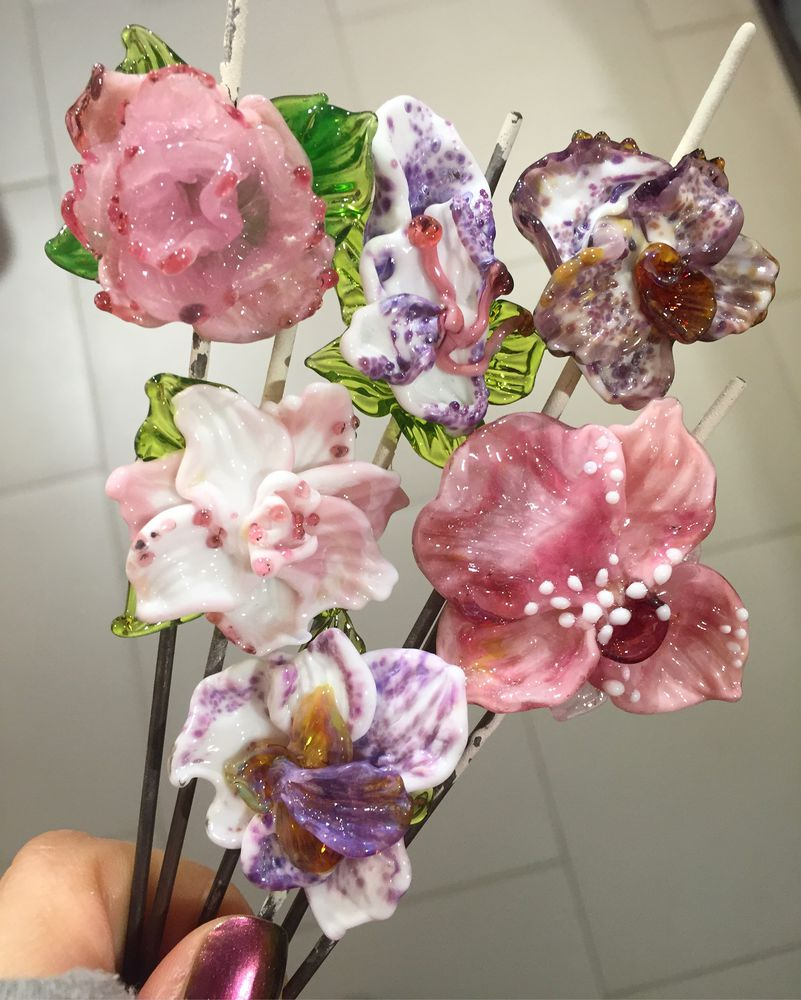 лэмпворк, стеклянные цветы, подарки, цветы лэмпворк