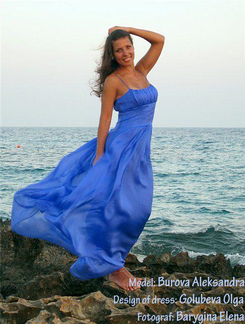 синее платье, натуральный шелк, авторское платье