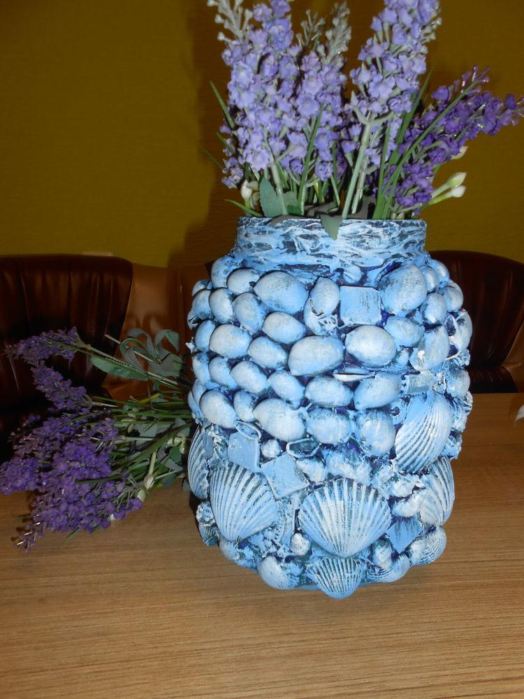 ракушки, сделай сам, легко сделать вазу, подарок своими руками