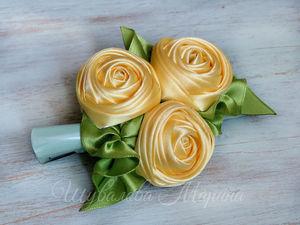 Делаем желтую розу из атласной ленты. Ярмарка Мастеров - ручная работа, handmade.