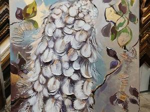 Серебряный павлин — новая интерьерная картина. Ярмарка Мастеров - ручная работа, handmade.