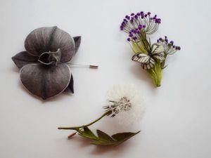 Броши орхидея травушка муравушка. Ярмарка Мастеров - ручная работа, handmade.