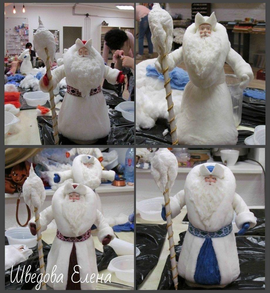 дед мороз из ваты, мастер-класс по игрушке, борода из ваты