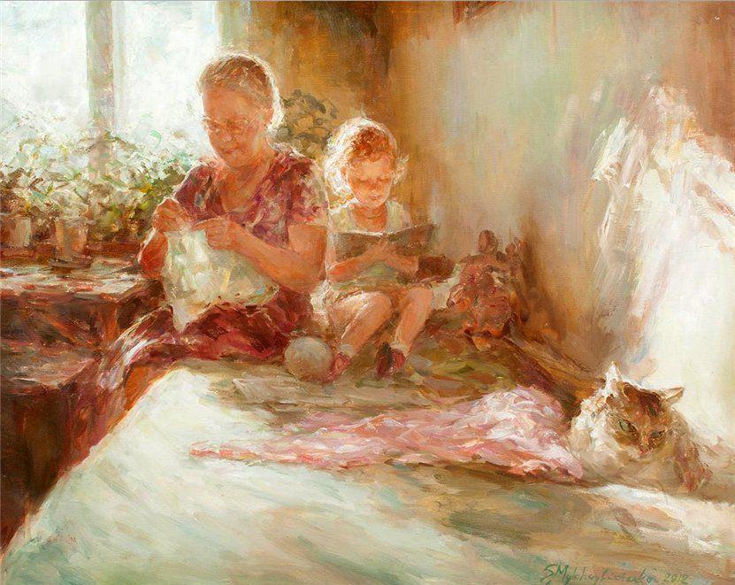 Когда есть чем заняться — стареть некогда: душевные картины о бабушках-рукодельницах, фото № 41