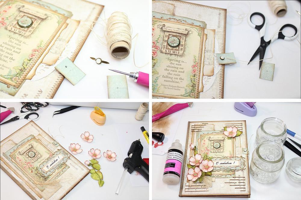 Как оформить внутри скрап открытки
