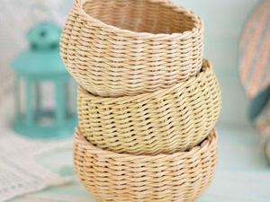 Фотоотчет плетеных корзиночек для Юлии. Ярмарка Мастеров - ручная работа, handmade.