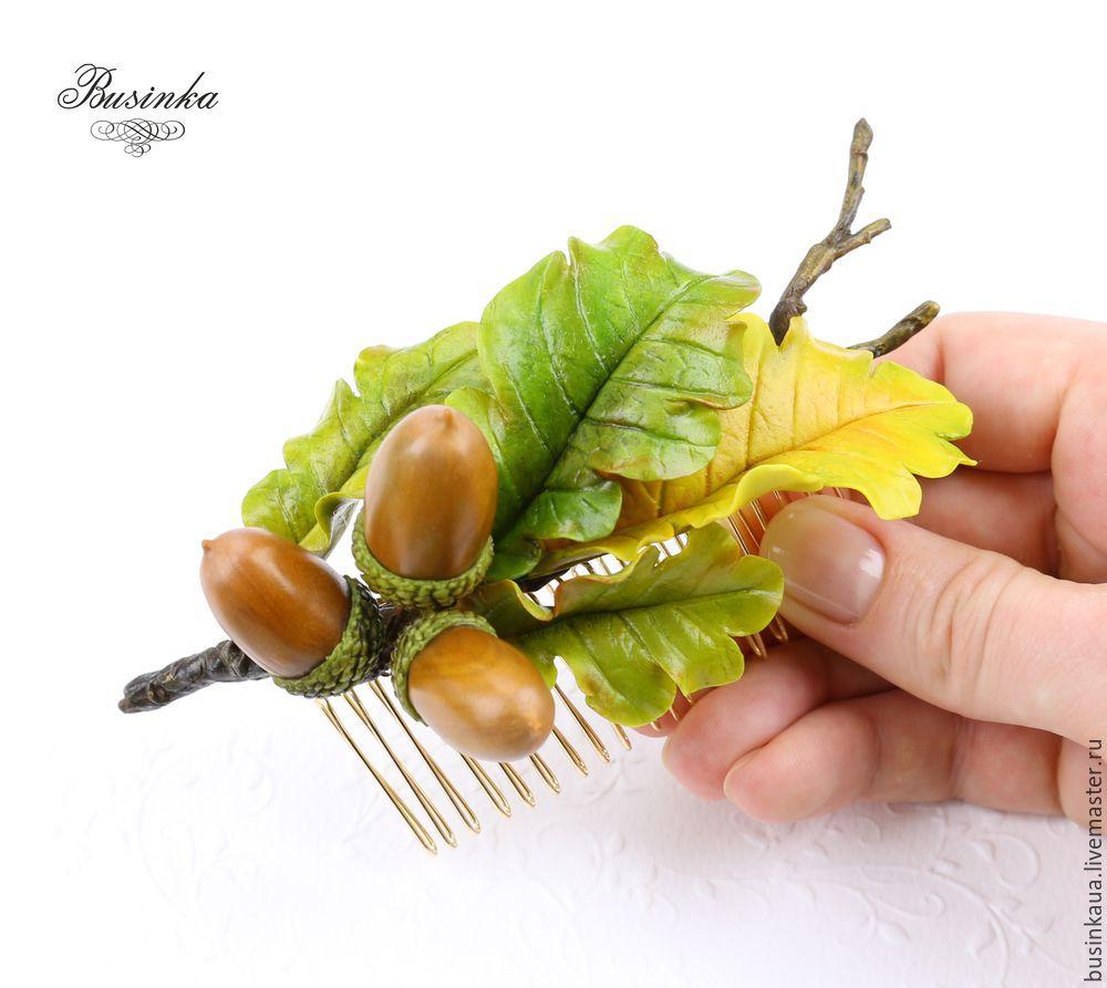 веточка дуба урок, как сделать дубовый лист, как слепить желудь, желудь из пластики, как сделать желудь, желудь из хф, дубовая веточка украшение