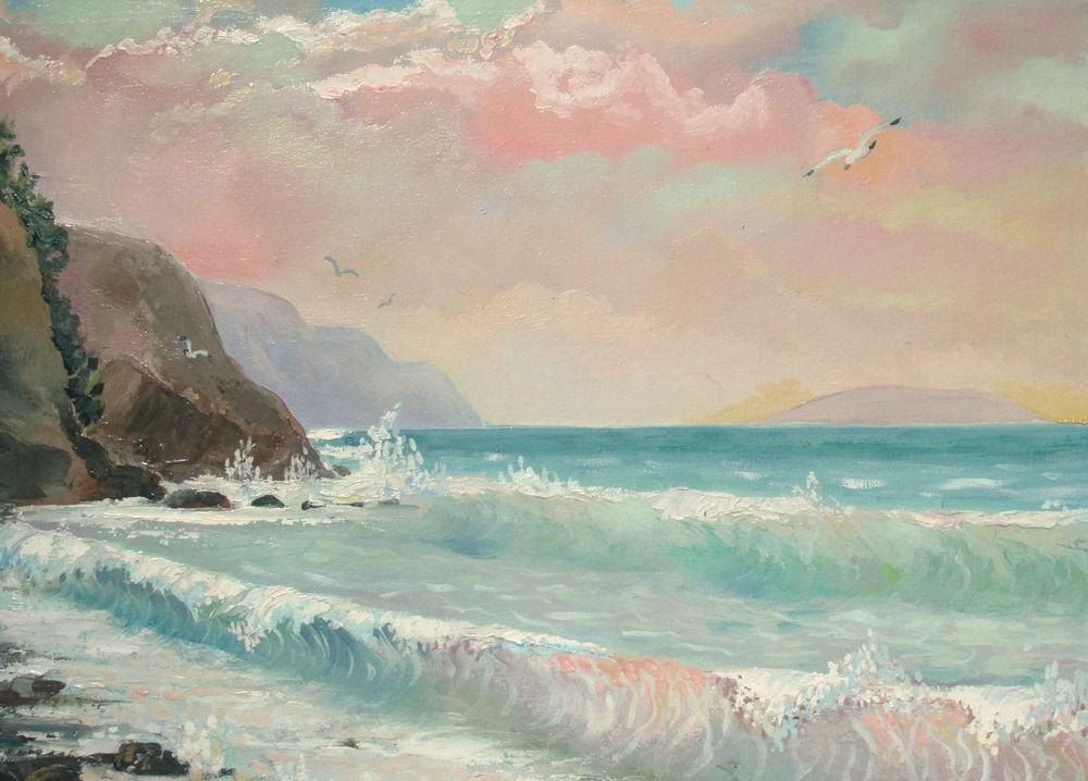 картина маслом, картина для интерьера, живопись маслом, морской пейзаж, морской стиль, крым, море, горы, закат, розовый цвет, голубой цвет, чайки, волны, авторская живопись, красивая картина купить, купить в москве, ярмарка мастеров, пейзаж маслом