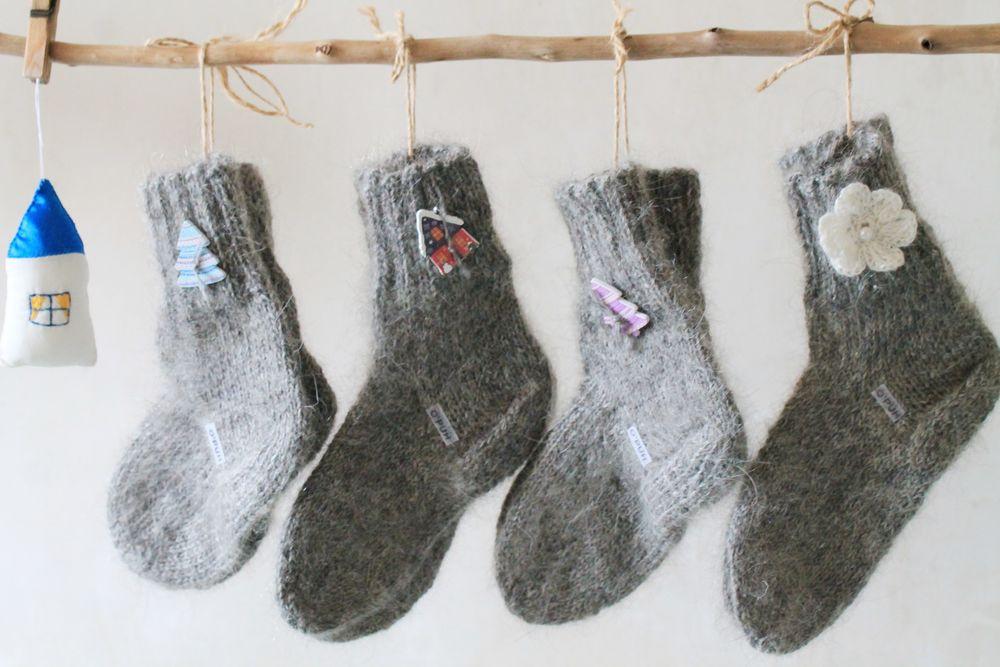 носки теплые, козий пух, вязаные носочки, оренбургский пух