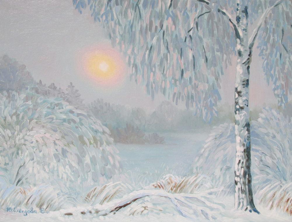 зимний лес, живопись маслом