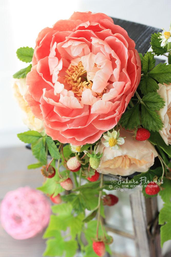 холодный фарфор, цветы ручной работы, украшение, пион из холодного фарфора