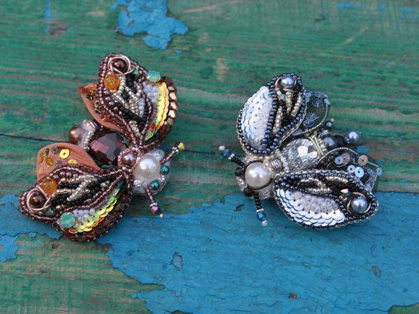 Броши мотыльки | Ярмарка Мастеров - ручная работа, handmade