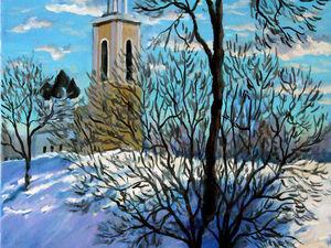 Видео мастер-класс по живописи маслом: пишем зимний пейзаж с храмом. Ярмарка Мастеров - ручная работа, handmade.