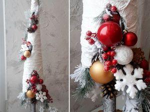 Новогодняя снежная елка из того, что осталось после ремонта | Ярмарка Мастеров - ручная работа, handmade