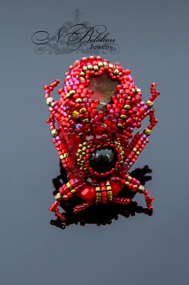 Огненный аммолитовый жучок колечко, фото № 5