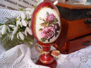 Готовимся к Пасхе: как сделать декупаж деревянного яйца на подставке. Ярмарка Мастеров - ручная работа, handmade.