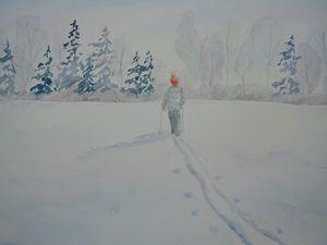 Зимний пейзаж с лыжником. Ярмарка Мастеров - ручная работа, handmade.