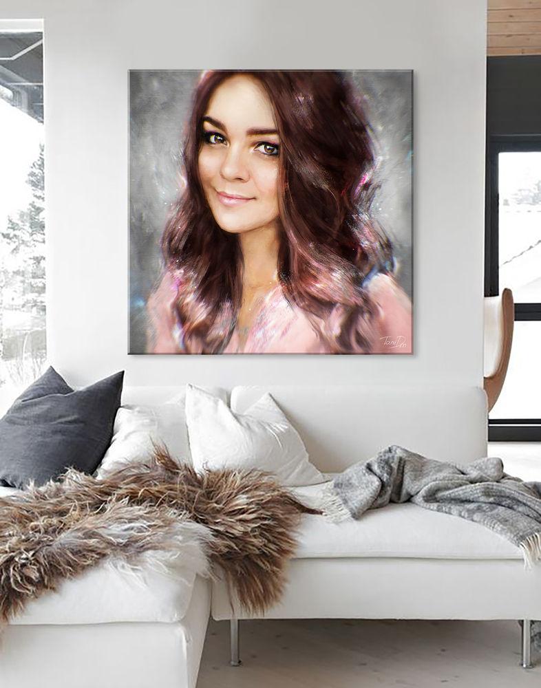 портрет на заказ, портрет в подарок, женский, сестра, дизайн интерьера, холст, картина для интерьера