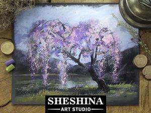 Видеоурок: рисуем пейзаж с цветущим деревом сухой пастелью. Ярмарка Мастеров - ручная работа, handmade.