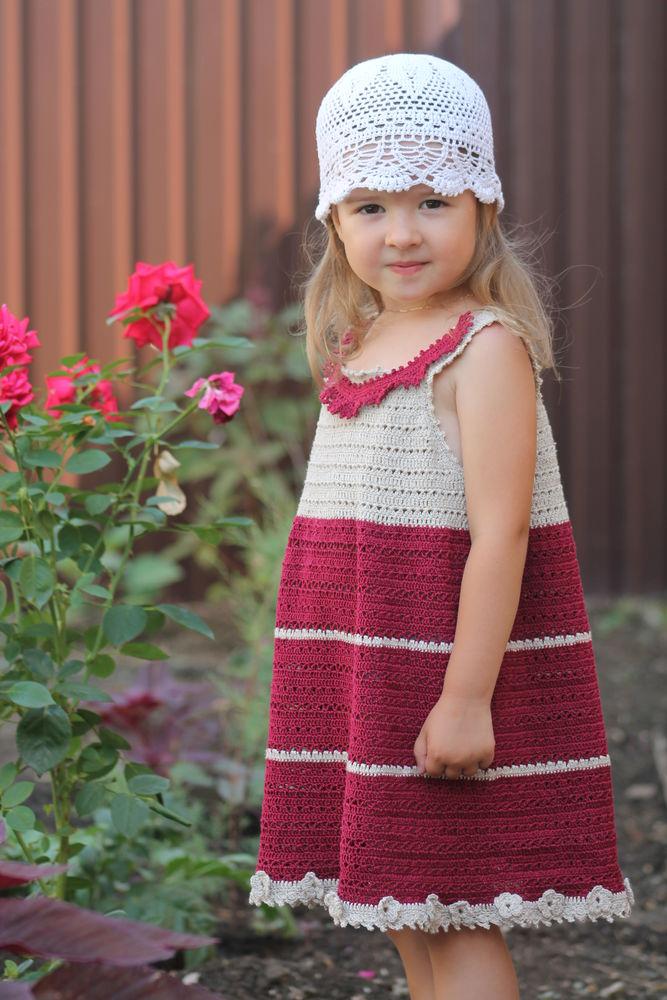 платье для девочки, вязание для начинающих