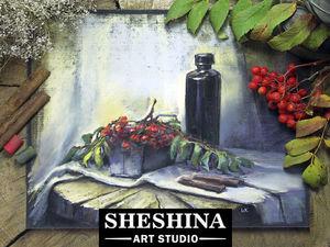 Видеоурок: рисуем осенний натюрморт с рябиной сухой пастелью. Ярмарка Мастеров - ручная работа, handmade.