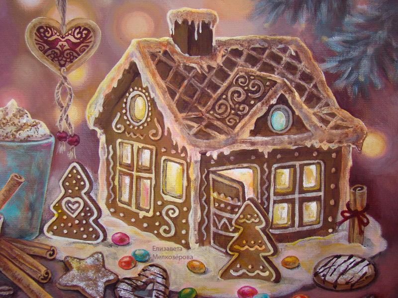 печенье сладости пряник, тёмно-зеленый, живопись для интерьера, зима зимний праздник