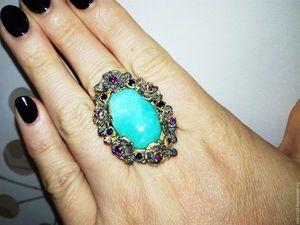 Скидка 20% Перстень с натуральной бирюзой!!!. Ярмарка Мастеров - ручная работа, handmade.