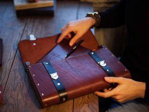 Мужской портфель из кожи и дерева ARNAK. Ярмарка Мастеров - ручная работа, handmade.