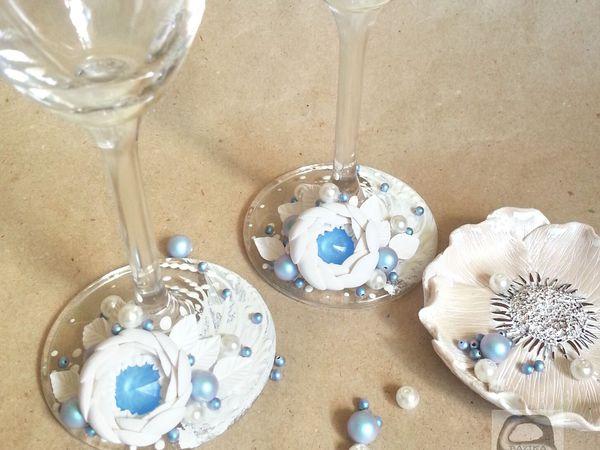 Декорируем свадебные бокалы цветами из полимерной глины, кристаллами и жемчугом Swarovski | Ярмарка Мастеров - ручная работа, handmade
