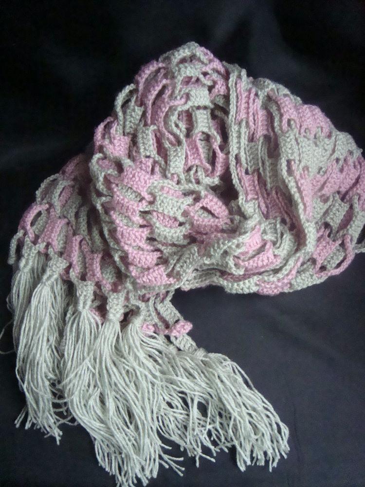 шарф с бахромой, ручное вязание