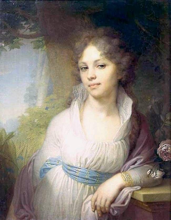 Дама в платье шемиз, из-под него видна рубашечка-шемизетка, платье перехвачено шарфом, на плечах шаль (портрет М. И. Лопухиной, 1797 г. Художник В. Л. Боровиковский).